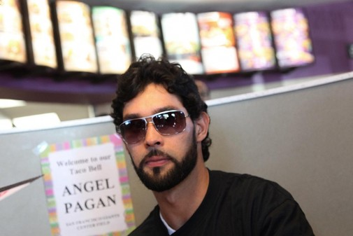 The San Francisco Giants' Angel Pagan makes an appearance at Taco Bell in Redwood City, Calif