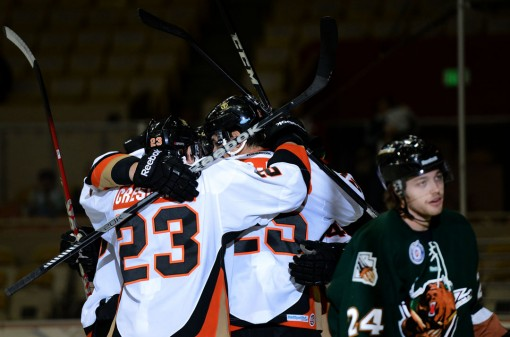 The San Francisco Bulls celebrate their first goal against the Utah Grizzlies during the first period of the hockey game at the Cow Palace in San Francisco on Sunday, Nov