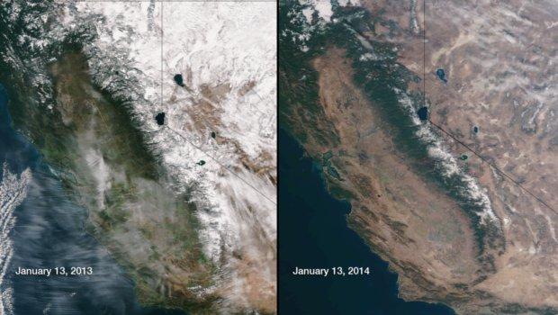 CA Snowpack 2013 vs 2014